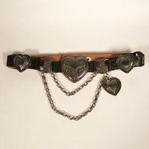 Streets Ahead Belt w/Hanging Silver Hearts & Chain